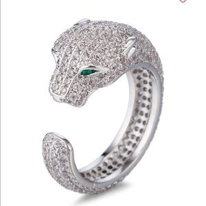 Luxe Crystal Jaguar adjustable wrap around ring